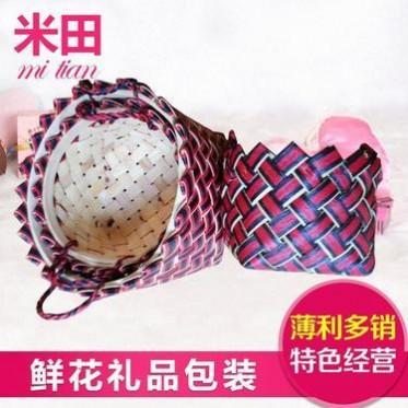 2015新款韩式手提花篮套 礼品花篮三件套 小号装饰田园花篮